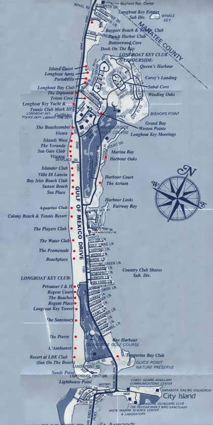 Longboat Key Map South Longboat Key condo map and information